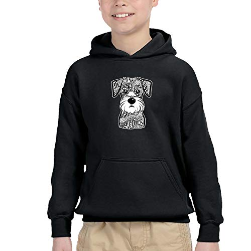 (LFCLOSET Hr Mini Schnauzer Dog Children Pullover Hoodies Kids Hooded Pocket Sweatshirt Black)