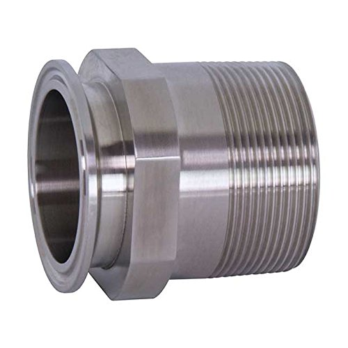 Dixon 21MP-R150 Stainless Steel 316L Sanitary Fitting, Clamp Adapter, 1-1/2'' Tube OD x 1-1/2'' NPT Male