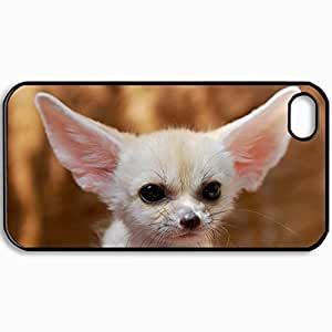 Customized Cellphone Case Back Cover For iPhone 4 4S, Protective Hardshell Case Personalized Fenech Cub Fox Ears Black