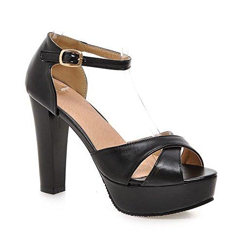 Amoonyfashion Mujeres Buckle Tacones Altos De Microfibra Solid Open Toe Sandals Black