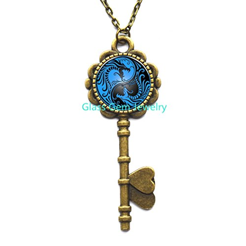 Fashion new Charming European style blue dragon phoenix yin yang Tai chi handmade art photo glass cabochon Key Necklace for women.XY23