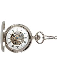 Avalon 17 Jewel Mechanical Skeleton Silver-tone Covered Pocket Watch with Chain, #4035S