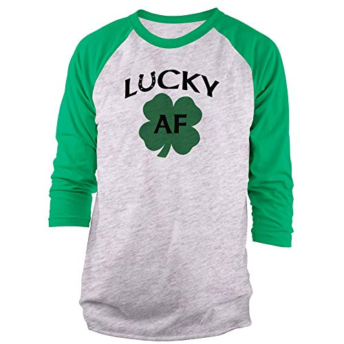 Vine Fresh Tees - Lucky AF 3/4 Sleeve Raglan T-Shirt - X-Large, Ash w/Kelly