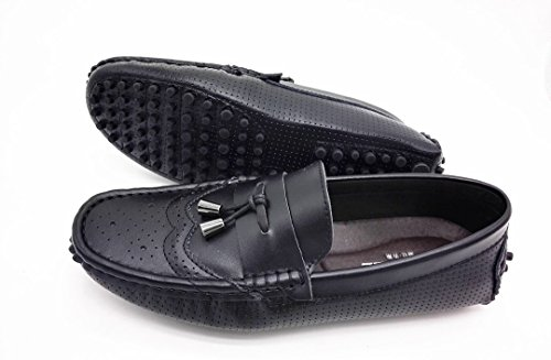 TDA Mens Comfort Breathable Perforated Leather Driving Business Loafers Boat Shoes Black QLdIBhXt