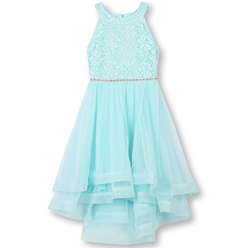 Speechless Big Girls 7-16 Tween Sparkle Waist Party Dress with Wide Ribbon Hem, New Mint, 7