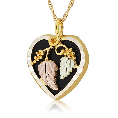 Black Hills Gold and Black Onyx Heart Pendant