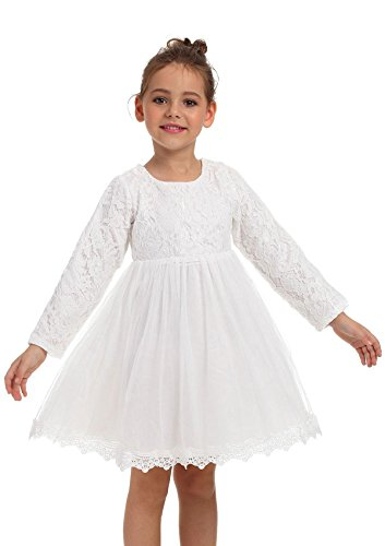 Ephex Toddler Girls Tulle Flower Princess Wedding Party Birthday Dress with Bow