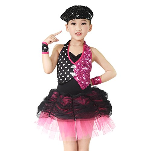(MiDee Jazz Bubble Dress Dance Costume Fake Two-Piece Halter Sequins (LC, Multi)