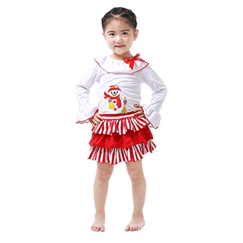 70 Girls Christmas Holiday Ruffle Santa Skirt Set 2pc Outfit 6-12 mths red/white (Set Santa Skirt)