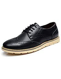 Fangsto Men's Leather Oxfords Brogues Flats Shoes Lace-ups