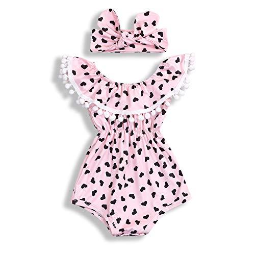 Newborn Baby Girls Love Marking Bodysuit Romper Jumpsuit+Headband One-Pieces Outfits Clothes Set(6-12Months, Pink)