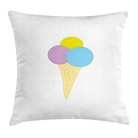 FPDecor Ice Cream Funda de Almohada, Vivid Illustration of a ...