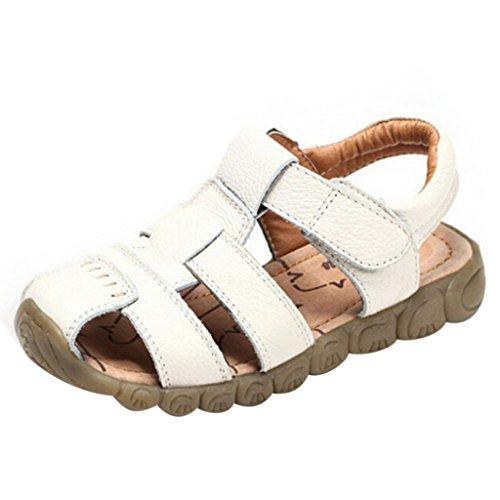 GETUBACK Boys Genuine Leather Sandals Soft Sole (Toddler/Little Kid/Big kid) Beige CN SIZE 24 (Sandals Kids Beige)