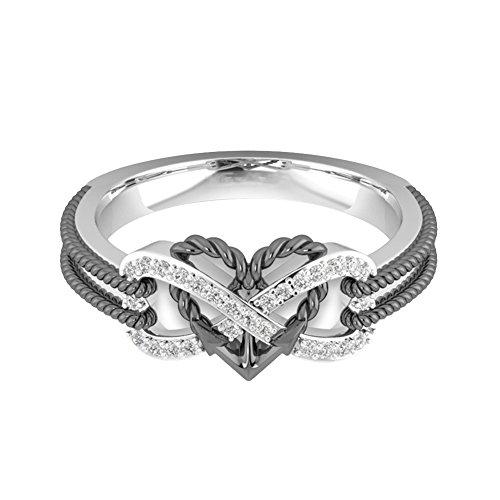Buyanputra Heart Plating Engagement Wedding Ring Women Charm Gift Ring -