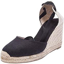 "U-lite 3"" Wedge, Soft Ankle-Tie, Closed Toe, Classic Linen Espadrilles Heel Sandals Black 9"