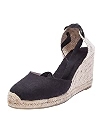 "U-lite 3"" Cap Toe Platform Wedges Sandals Women, Classic Soft Ankle-Tie Lace up Espadrilles Shoes"