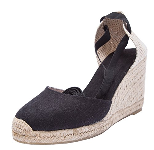 U-lite 3'' Wedge, Soft Ankle-Tie, Closed Toe, Classic Linen Espadrilles Heel Sandals Black 9