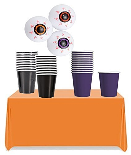 Halloween Inspired Beer Pong Party Accessories Set! Halloween Colored Cups, Ping Pong EyeBalls & Orange Table Cover! ()