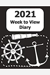 """2021 Weekly Diary: Large Print (Mariner - Black Cover) - 8"""" x 10"""" with Months, Important Dates & Week to View Planner - Simple layout. Large Print. Easy to use for visually impaired Paperback"""
