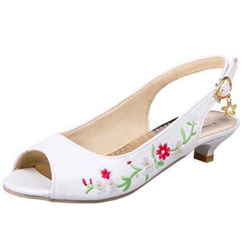 TAOFFEN Mujer Moda Elegante Peep Toe Talon Abierto Sandalias Mini Tacon Flores Bordadas con Hebilla Beige