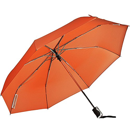 Baking Fun Travel Umbrella 8 Rib Wind Resistant Frame Automatic Open/Close For One Handed Operation (Orange)