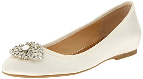 Badgley Mischka Women's Abella Ballet Flat, Ivory, 11 M US by Badgley Mischka