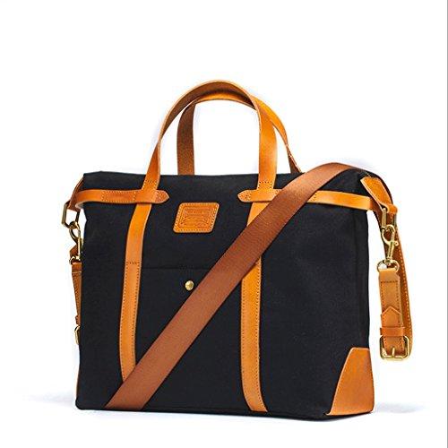 JJC321 Vintage Canvas Herren Aktentasche Rucksack Messenger Convertible Laptoptasche Handtasche Rucksack Reisen Wandern Rucksack Für 13 ~ 14 Zoll Laptop Schwarz / Khaki ( Farbe : Schwarz ) Schwarz