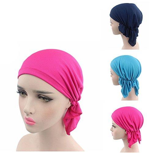 [3 Colors Pack Chemo Cancer Head Scarf Hat Cap Ethnic Cloth Rhinestone Turban Headwear Women's Ruffle Beanie Scarf (3 Colors Pack -] (Ethnic Hats)