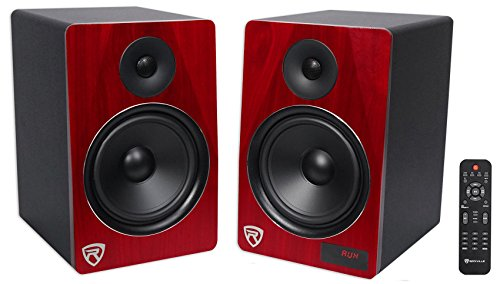 Rockville HTS8C Pair 8″ 1000W Powered Home Theater Speakers Bluetooth/FM/USB/SD