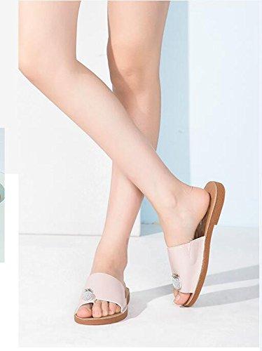 Summer Leisure Low Heel Toe Slippers Pink e06vuIowe4