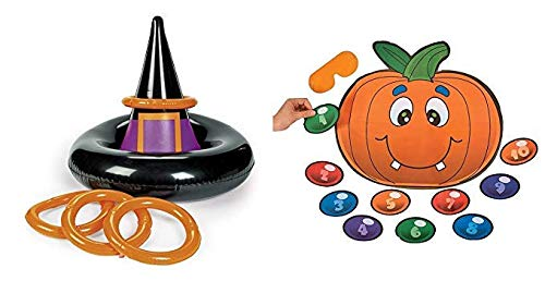 Halloween Inflatable Witch hat Ring toss Game + Free pin Pumpkin Game ()