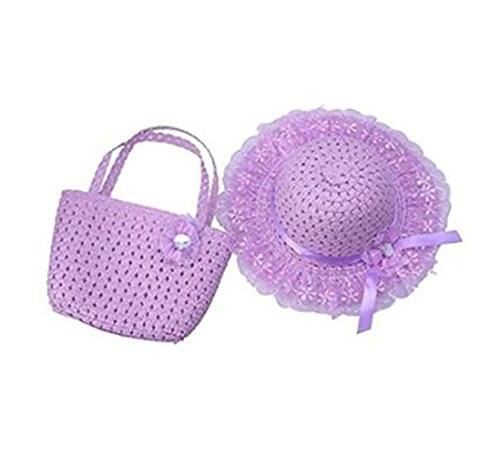 Xugq66 Kids Straw Sun Hat Handbag Sets Children Beach Caps Prop Outfit (Purple) ()