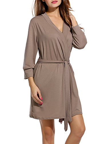 Hotouch Lightweight Knee Length Waffle Kimono Bridesmaids Spa Robe Cappuccino - Maternity Tie Jersey