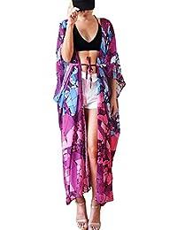Bsubseach Mujer Cárdigan de Playa Blusa Larga de Verano Cubrir Bikini Camisola y Pareos