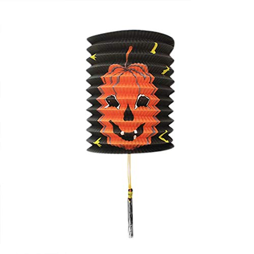 Halloween Decoratin Paper Pumpkin Bat Skeleton Hanging Lantern Light Lamp Party -