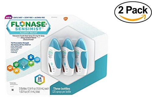 FLONASE Sensimist Allergy Relief Spray (3 bottles, 120 sprays per bottle) (pack of 2) by Flonase