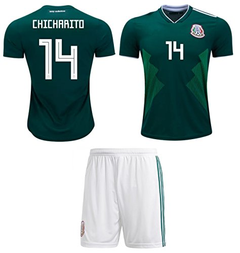 312a9967df7fb Chicharito #14 Javier Hernández Mexico Soccer Jersey Youth World Cup Home  Short Sleeve with Shorts Kids (YS 6-8 Years, Chicharito #14)