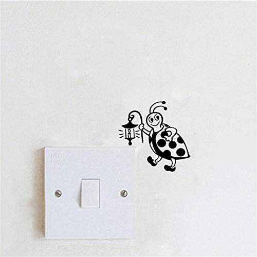 Wsqyf Stylish Switch Sticker Ladybug Holding Lamp Creative Vinyl Wall Sticker for Kids Room