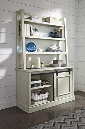 Ashley Furniture Signature Design - Jonileene Home Office Hutch - Hutch Only - Distressed White Finish - Dark Gray Hardware