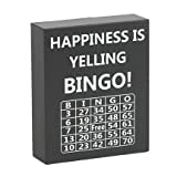 JennyGems - Happiness is Yelling Bingo - Wooden Box Sign -Bingo Themed Decor - Bingo Lovers Keepsake Decoration - Stand Up Sign for Men and Women