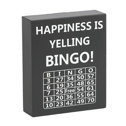 JennyGems Bingo Lovers Gifts, Happiness is Yelling Bingo, Wood Sign, Bingo Players Home Decor Keepsake Decoration]()