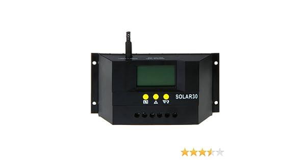 SODIAL(R) Controller 30A 12V / 24V PWM de carga solar LCD inteligente de la bateria del panel solar Regulador: Amazon.es: Bricolaje y herramientas