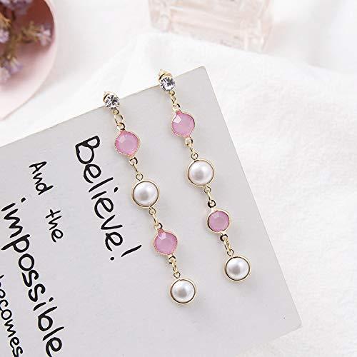 New Fashion Luxury Pink Shiny Long Bowknot Tassel Drop Earrings Korean Style Women Pendientes Jewelry,16 ()