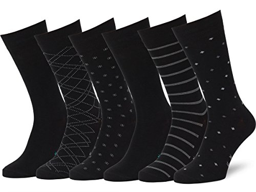 Easton Marlowe Men's Classic Subtle Pattern Dress Socks 6pk #4-3 Black Big & Tall Large 13-15 US