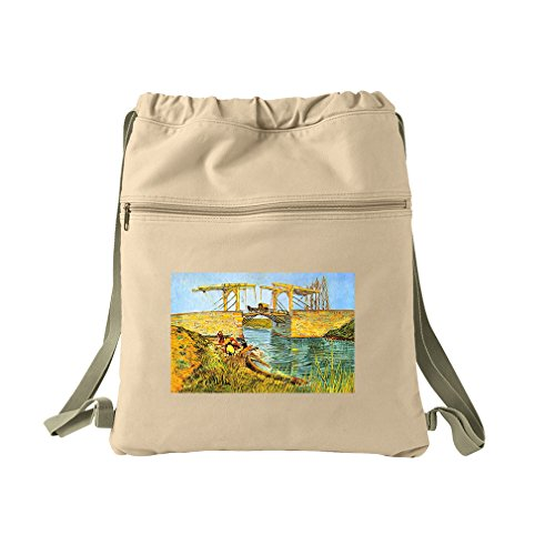 The Langlois Bridge At Arles (Van Gogh) Canvas Dyed Sack Backpack Bag (Arles Canvas)