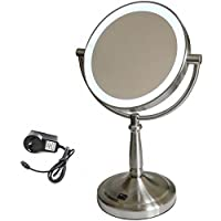 Homedics Vanity Bathroom Makeup Beauty Mirror LED Light/7x Magnification/2 Sided