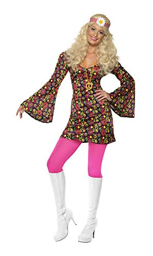 Smiffys Women's 1960's CND Costume, Dress with Bell Sleeves, 60's Groovy Baby, Serious Fun, Size 6-8, -