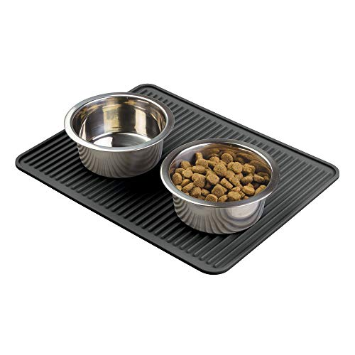 mDesign Premium Quality Pet Food and Water Bowl Feeding Mat for Dogs and Puppies – Waterproof Non-Slip Durable Silicone…