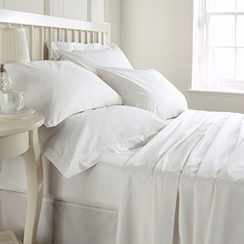Amazon Basic Hotel Collection 800TC 3pc Duvet Cover Set 100% Egyptian Cotton King Size White Solid