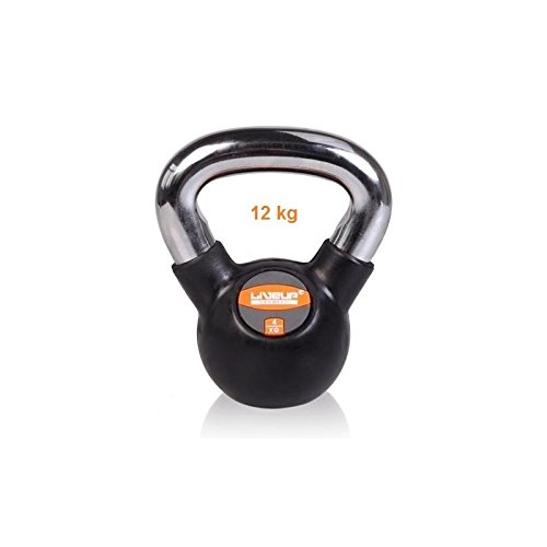 LiveUP Sports - Kugelhantel Kettlebell 12Kg Eisen Gummi Gewicht Chrome Handle Fitness Training